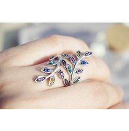 Telegant Wave Wind Colorful Drill Crystal Leaf Ring