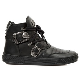 New Rock Shoes Unisex Black Lace Up Leather Shoes With Skull Buckles