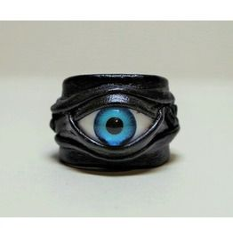 Evil eye handmade adjustable black genuine leather statement cocktail ring rings