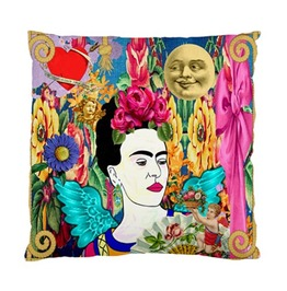 Frida Kahlo With Wings, Love Hearts, Cherubs, Moon & Vintage Cushion Cover