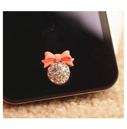 Rhinestone Bow Home Button Sticker I Phone 4,4s,5