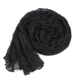 Black Crinkle Soft Scarf Fashion All Season Long