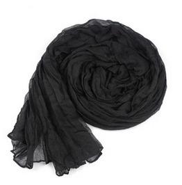 Black Crinkle Soft Scarf Fashion All Season Long