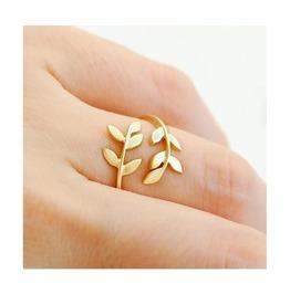 Cute Adjustable Alloy Leaf Ring