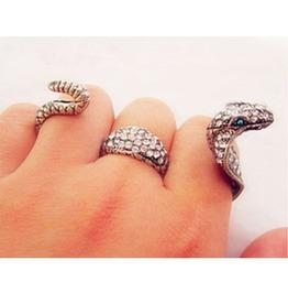 Punk Rhinestone Snake Ring