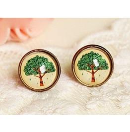 Simple Handmade Tree Gemstone Stud Earrings