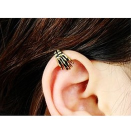 Vintage Copper Hand Bone Single Ear Cuff