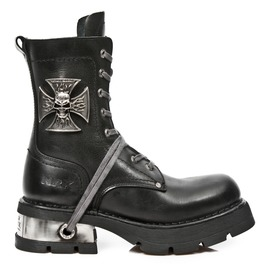 New Rock Shoes Black Lace Up Neobiker Leather Boots