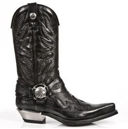 New Rock Shoes Cowboy Leather Boots With Black Embossed Flames