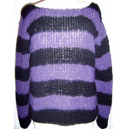 Black Stripey Kurt Cobain Inspired Punk Custom Jumper