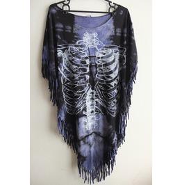 Skeleton Skull Fashion Hippie Punk Hippie Batwing Tussle Fringes Poncho L