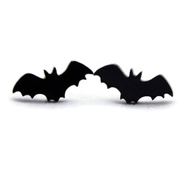 Black Bat Earrings, Women's Nickel Free Post Earrings