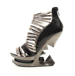 Hades Shoes Discor Iceberg Wedge With Silver And Black Straps
