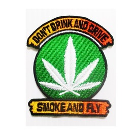 """Embroidered """"The Cannabis Leaf"""" Sew On Or Iron On Patch."""