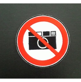 Embroidered Do Not Take A Photo, No Camera Symbol. Iron On Patch.