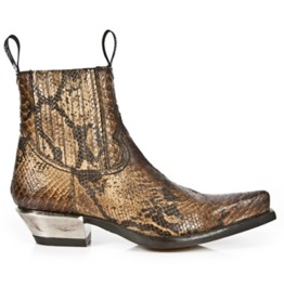 New Rock Shoes Men's Brown Snake Skin Print Leather Ankle Boots