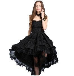 Black Gothic Lolita Strapless Dove Tail Party Dress $9 To Ship Worldwide
