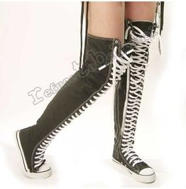 Punk Goth Thigh High Canvas Lace Up Sneaker Boots Black And White