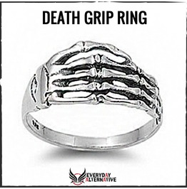 Death Grip Ring 925 Stainless Steel Skeleton Hand With Bone Shapped Band