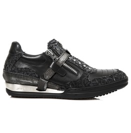 New Rock Shoes Women's Black Denim Floral Printed Leather Shoes