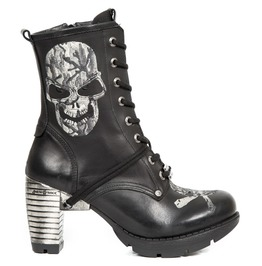 New Rock Shoes Women's Black Lace Up Boots With Embroidered Skull