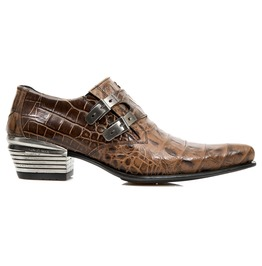 New Rock Shoes Brown Crocodile Skin Formal Leather Shoes