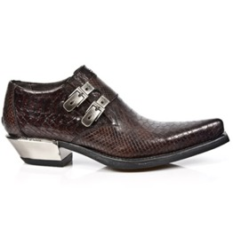 New Rock Shoes Men's Dark Brown Snake Skin Print Formal Shoes