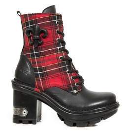 New Rock Shoes Black Plaid Neotyre Lace Up Leather Boots
