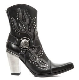 New Rock Shoes Ladies Black Studs And Flames Leather Boots