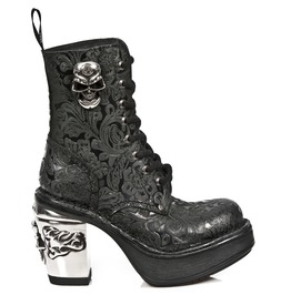 Rebelsmarket new rock shoes ladies black vintage flower lace up platform boots boots 7