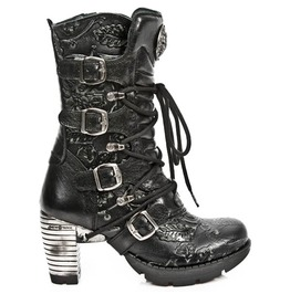 New Rock Shoes Ladies Vintage Flower With Buckles Leather Boots