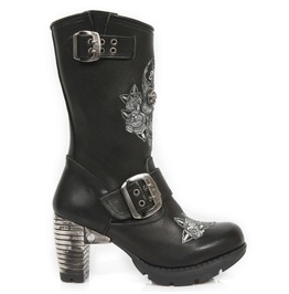 New Rock Shoes Ladies Neotrail Skull And Flowers Leather Boots