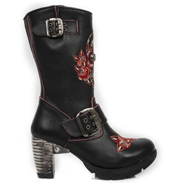 New Rock Shoes Ladies Neotrail Red Skull And Flowers Leather Boots