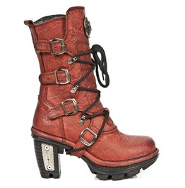 New Rock Shoes Red Neotrail Vintage Flower Lace Up Boots