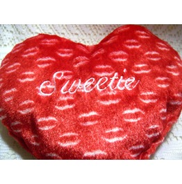 Embroidered Monogrammed Sweetie Red Valentine's Day Heart Shaped Pillow