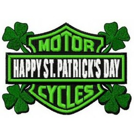 Embroidered Happy St. Patrick's Day Motorcycle Patch Iron/Sew On Patch