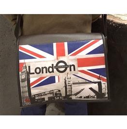 Student, London Print, Benga Rabbit, Brown Vegan Leather Messenger Bag