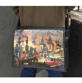 Student, Prague Print, Benga Rabbit, Black Vegan Leather Messenger Bag