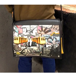 Student, Traveling Print, Benga Rabbit, Black Vegan Leather Messenger Bag