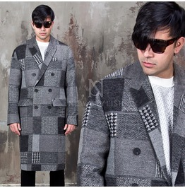 Checkered Pieces Long Coat 122