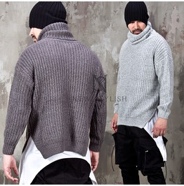 Side Incision Knit Turtle Neck Sweater 42