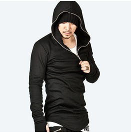 Asymmetric Assassin Creed Diagonal Zipper Accent Arm Warmer Hoodie
