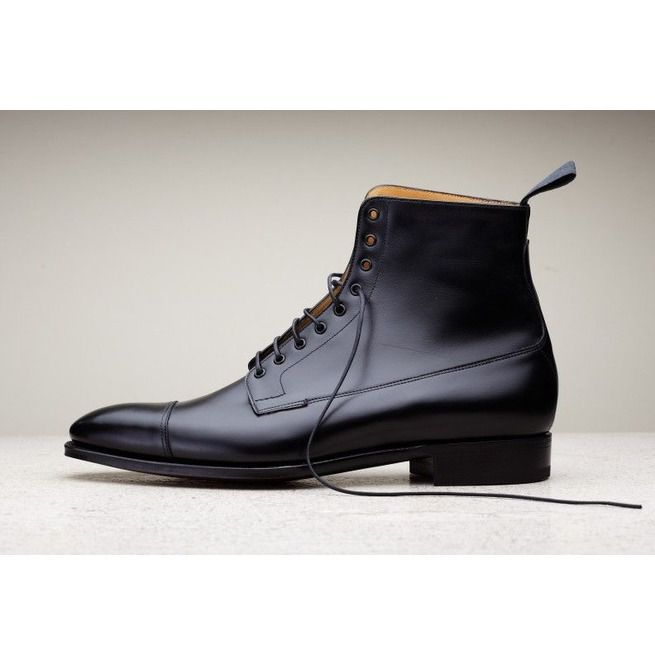 ab0f43d6ba0da Handmade Men Black Leather Boots, Dress Boots For , Ankle High Boots