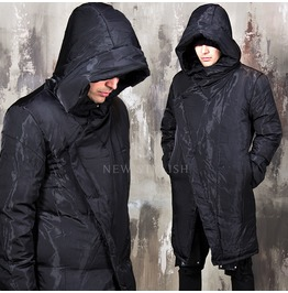 Glossy Asymmetric Black Long Parka 34