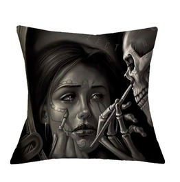 Unique Day Of Dead Skull Print Pillow Case V3