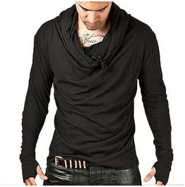 Striking turtle neck arm warmer tee black shirts