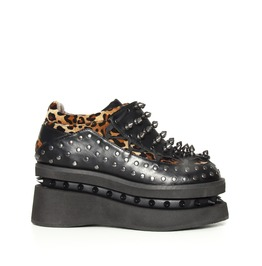 Hades Shoes Opion Cheetah Platform Flats With Studded Sides