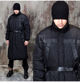Belted Black Long Padded Parka 37