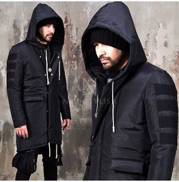 Tape Patchwork Accent Black Long Padded Parka 38