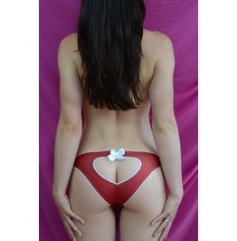 The Red Mesh Curve Heart Panties Handmade Made To Order